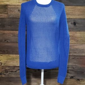 Athleta Caspian Blue Mesh Pullover Sweater